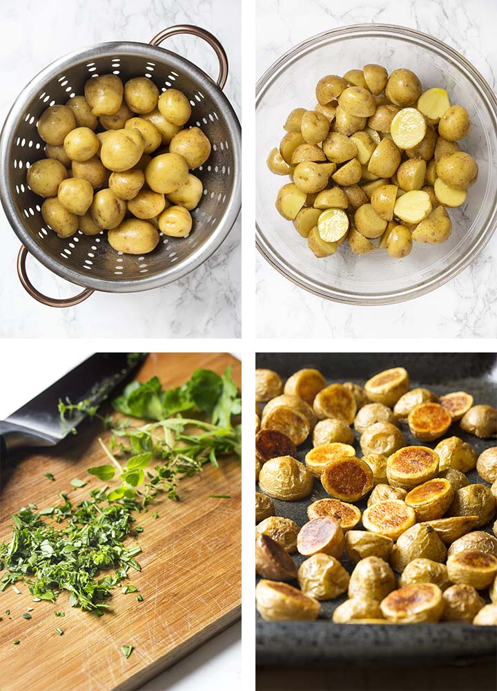 Step by step on how to make crispy herb roasted potatoes.