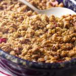 Spiced Rhubarb Crisp with Oatmeal Pecan Crumble