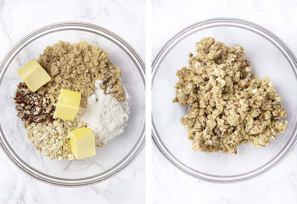 Step by step on how to make crumble topping for rhubarb crisp.