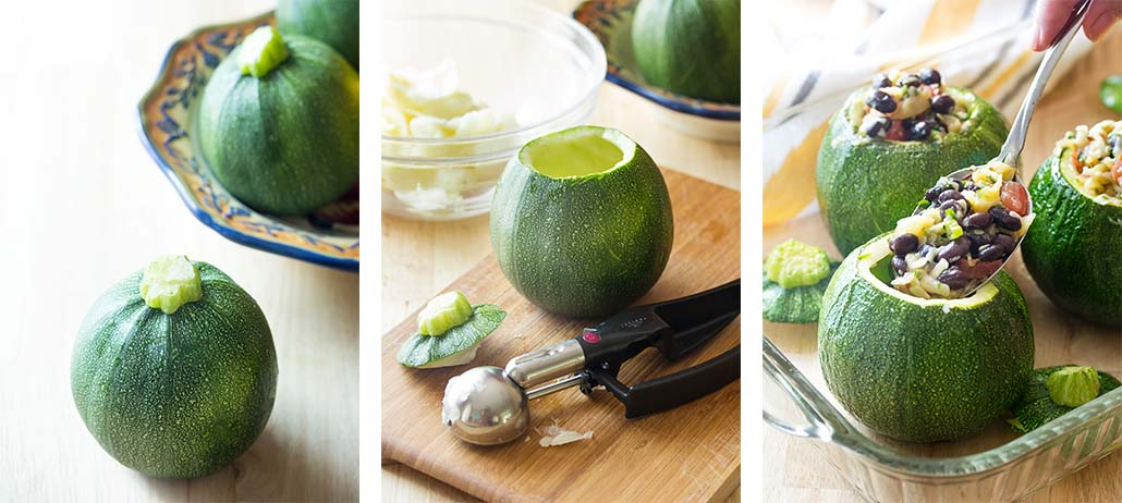 Step by step on how to fill the vegetarian stuffed zucchini.