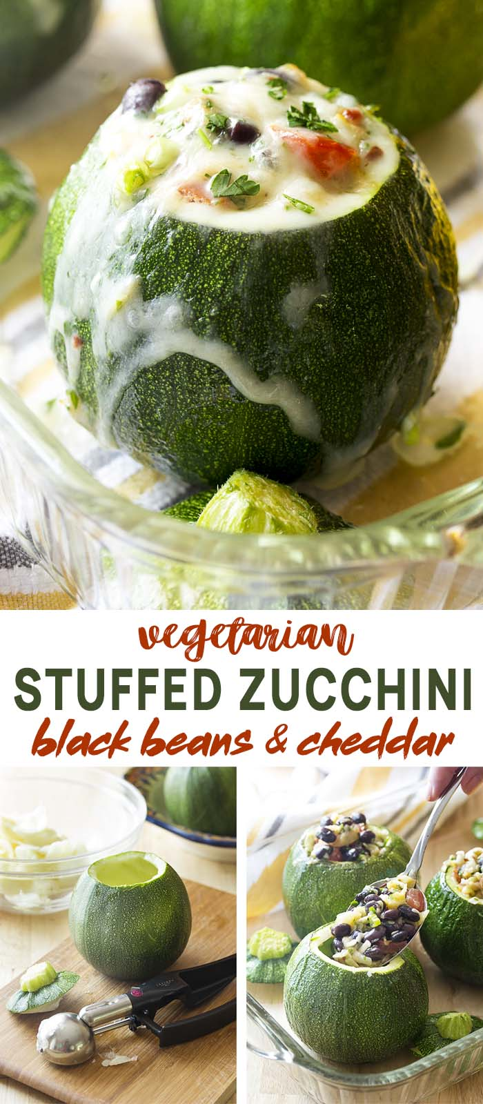 Stuffed squash how to collage with text overlay - Stuffed Zucchini.
