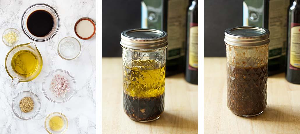 Step by step on how to make honey balsamic vinaigrette.