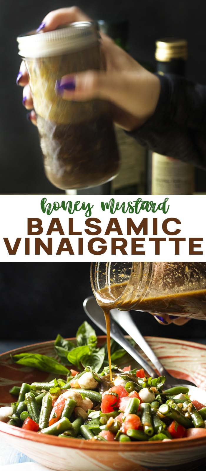 Dressing being shook and pouring on a salad with text overlay - Balsamic Vinaigrette.