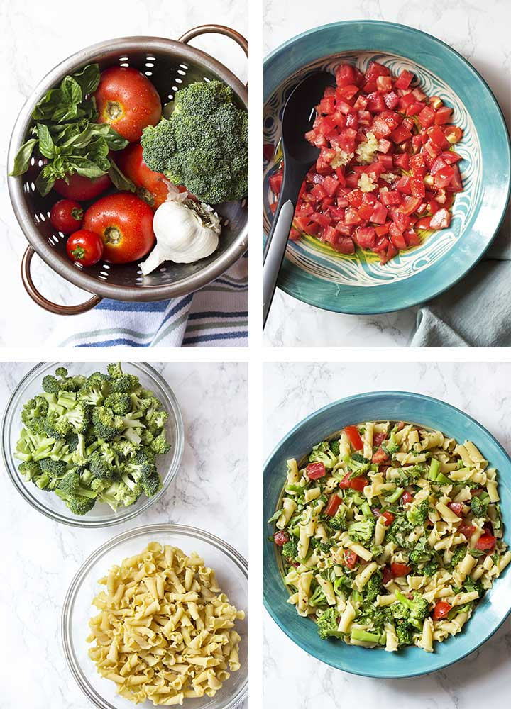 Step by step on how to make summer pasta.