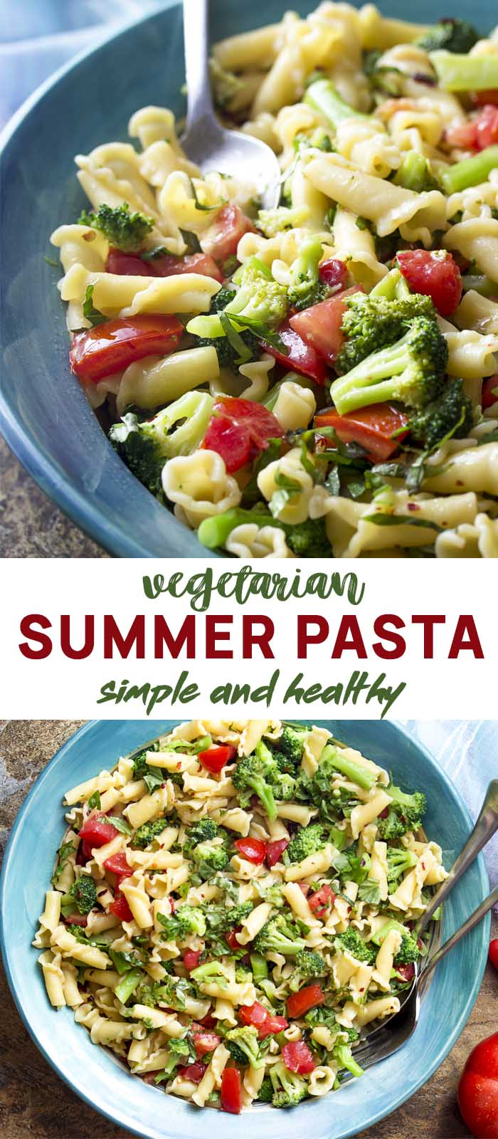 Pasta and vegetables in a blue serving bowl with text overlay - Vegetarian Summer Pasta.