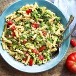 When the weather is hot it's time to go to the farm stand and make a fresh and simple vegetarian summer pasta! Great hot or cold, full of veggies, ripe tomatoes, and basil. | justalittlebitofbacon.com #summerrecipes #pastarecipes #italianrecipes #pasta #farmstand #vegetarian #vegan
