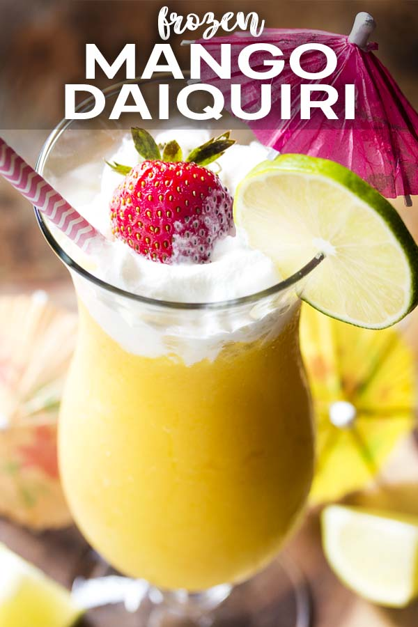 Two tall glasses of daiquiri with text overlay - Frozen Mango Daiquiri.