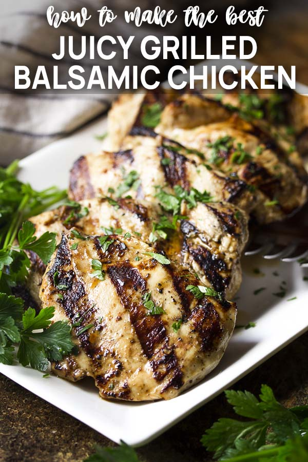 Grilled chicken breast on a plate with text overlay - Juicy Grilled Balsamic Chicken.