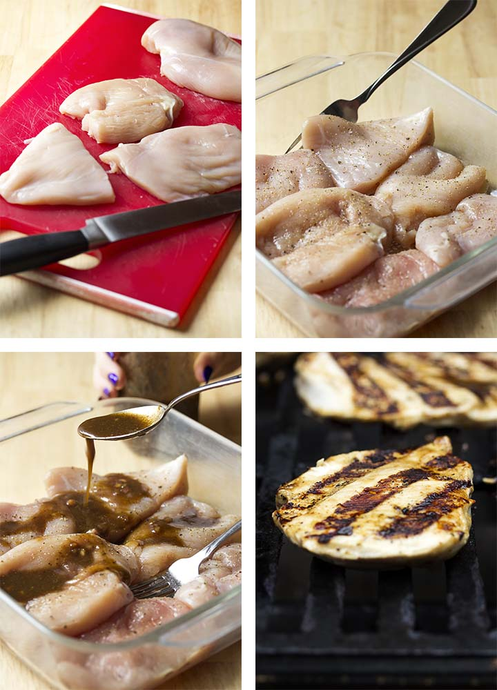 Step by step on how to make grilled balsamic chicken.