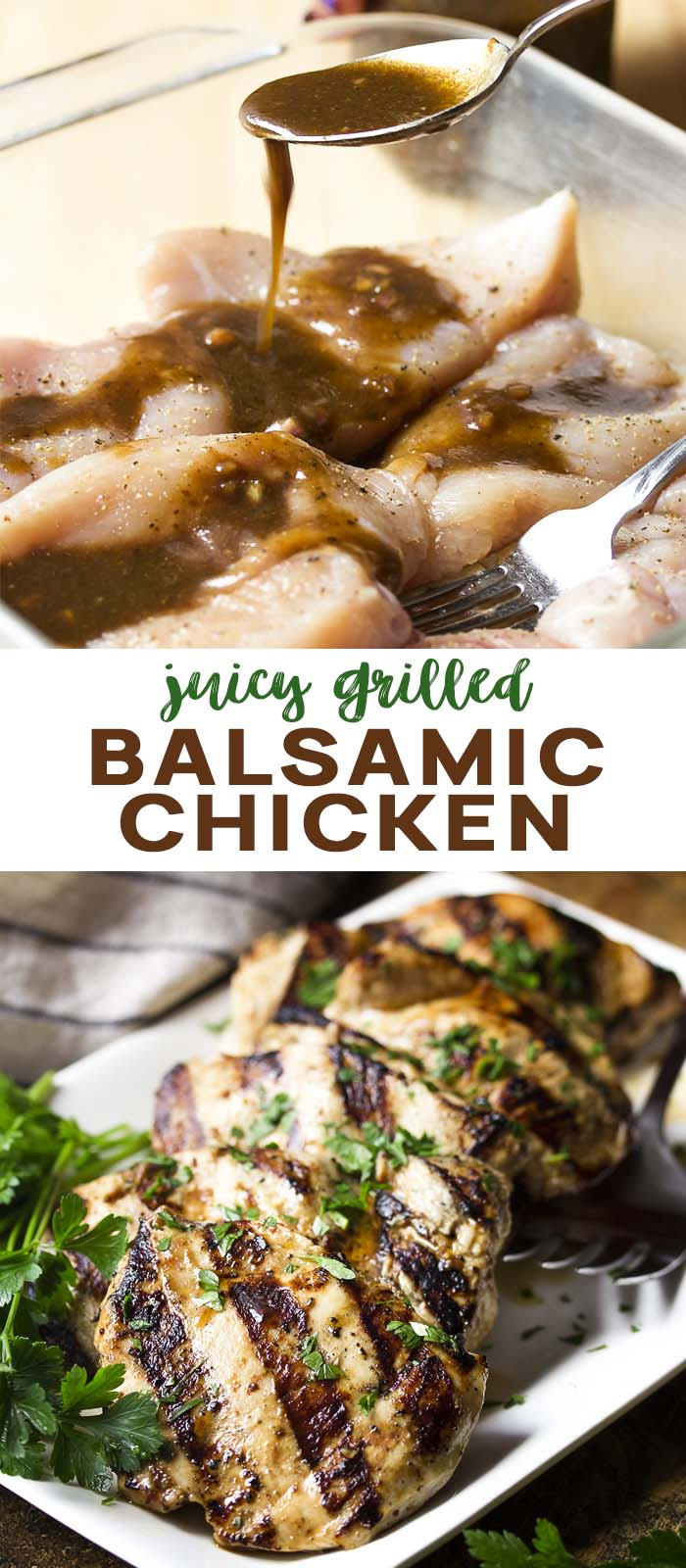 Chicken breast shown marinating and then grilled with text overlay - Balsamic Chicken.