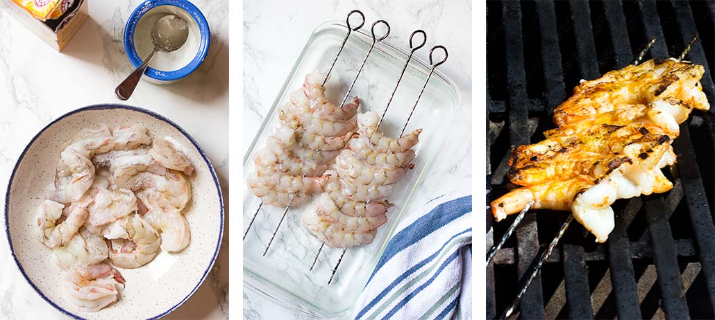 Step by step on how to make grilled shrimp skewers.
