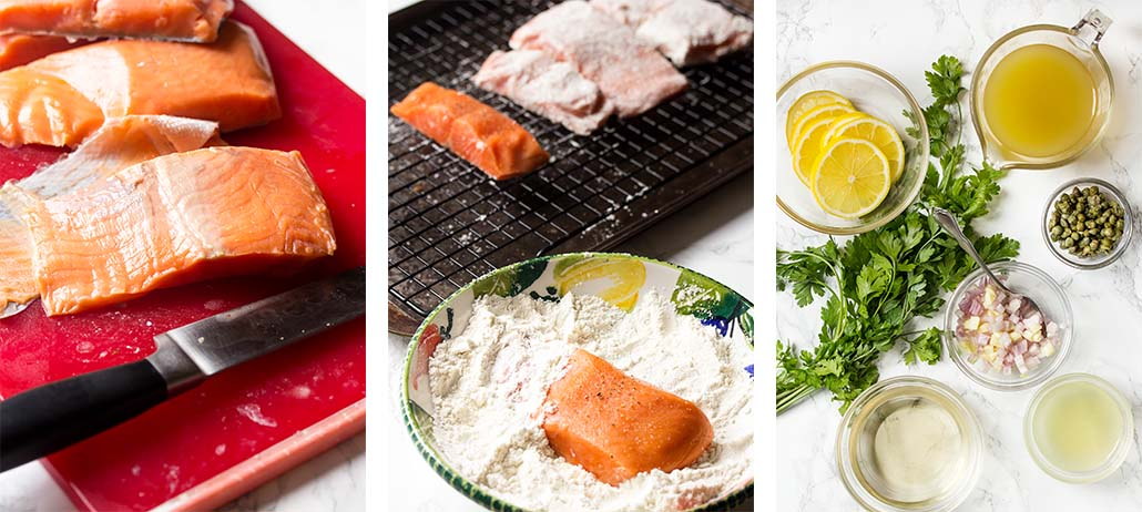 Step by step on how to make salmon piccata.