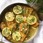 My recipe for salmon piccata with a lemon and caper sauce is pan seared in a skillet then served over pasta for a healthy and easy weeknight dinner. | justalittlebitofbacon.com #fishrecipes #dinnerrecipes #easyrecipes #salmon #dinner #salmonpiccata
