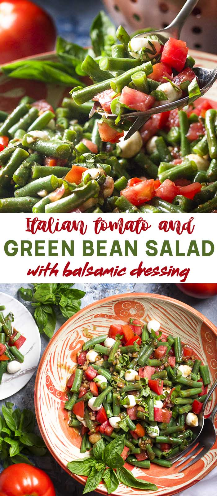 Salad in a serving bowl and being scooped out with text overlay - Green Bean Salad.