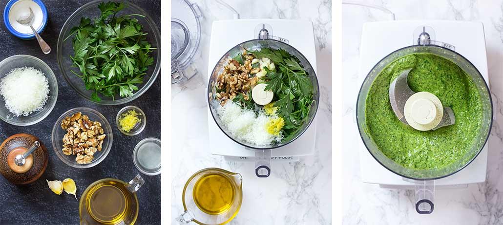 Step by step on how to make parsley walnut pesto.