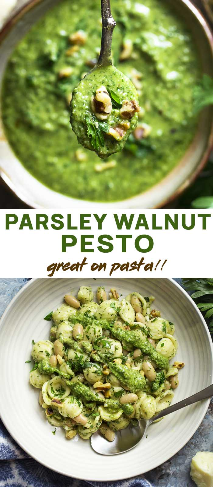 Pesto in a serving bowl and over pasta with text overlay - Parsley Walnut Pesto.