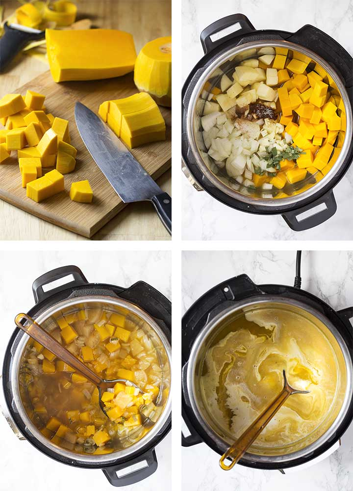 Step by step on how to make instant pot butternut squash soup.