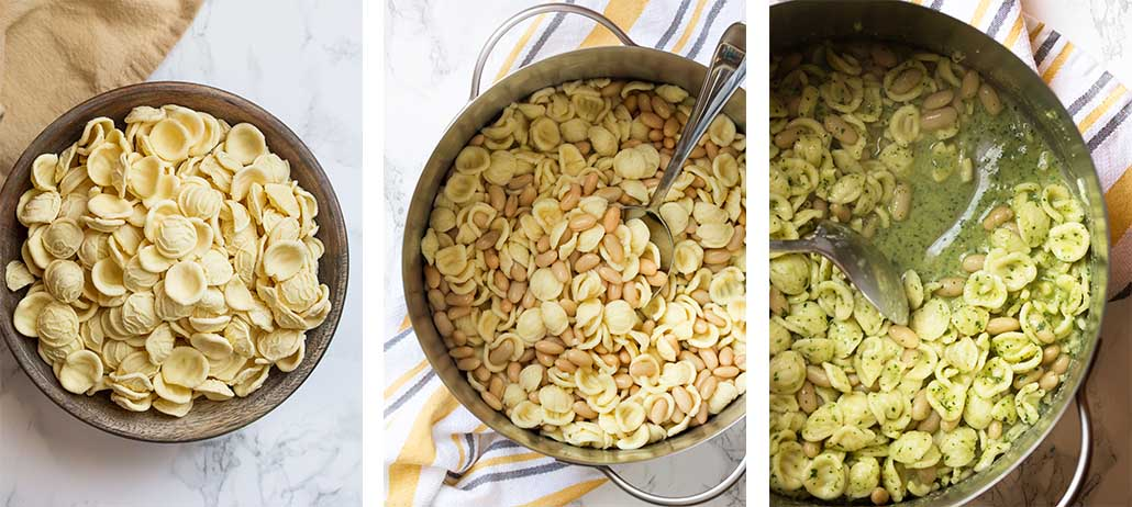 Step by step on how to make pasta with white beans.