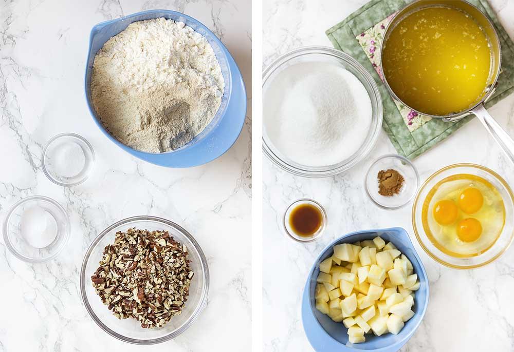Ingredients for making fresh apple cake.