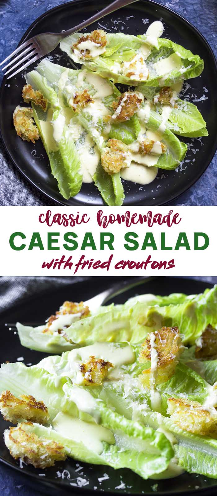Two views of salad on a black plate with text overlay - Caesar Salad.
