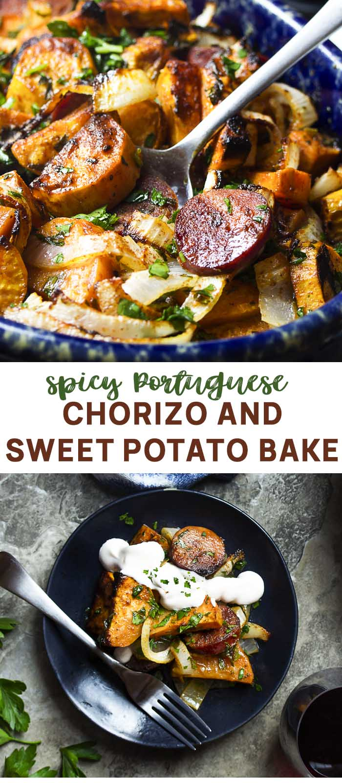 Casserole in baking dish with serving spoon with text overlay - Baked Chorizo and Sweet Potatoes.