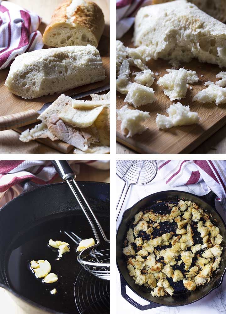 Step by step on how to make homemade fried croutons.