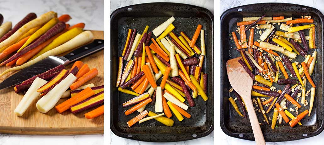 Step by step on how to make honey roasted carrots.