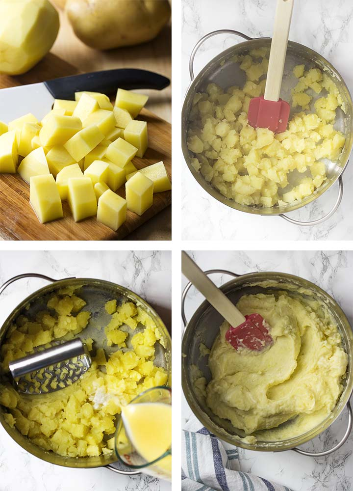 Step by step on how to make ahead mashed potatoes.