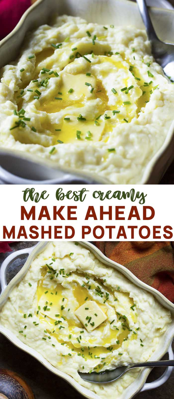Two view of the recipe in a casserole dish with text overlay - Make Ahead Mashed Potatoes.