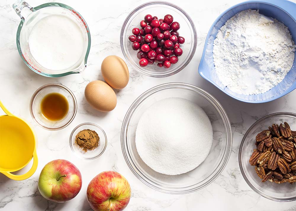 Ingredients for cranberry apple cake.