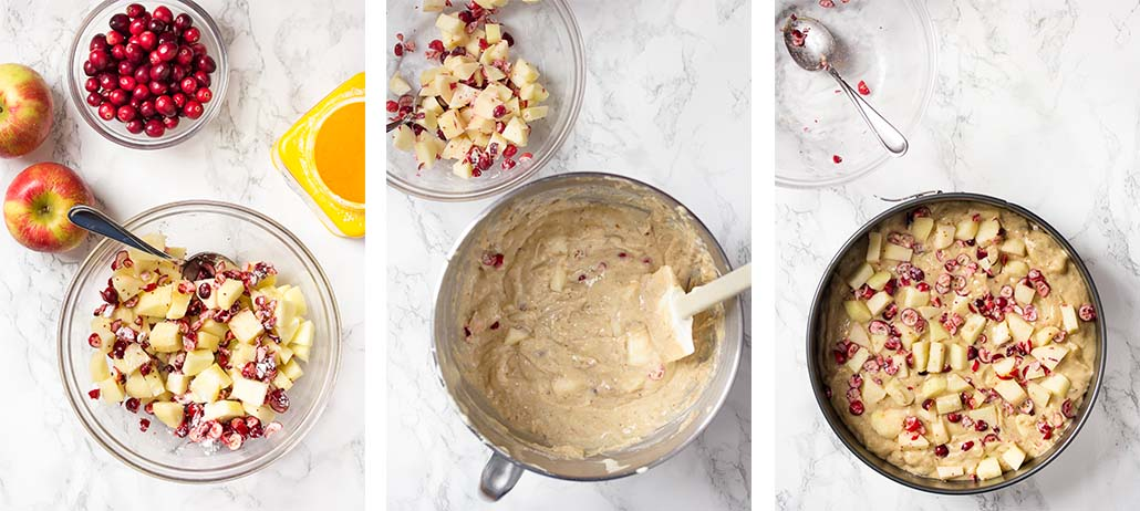 Step by step on how to assemble the cake.