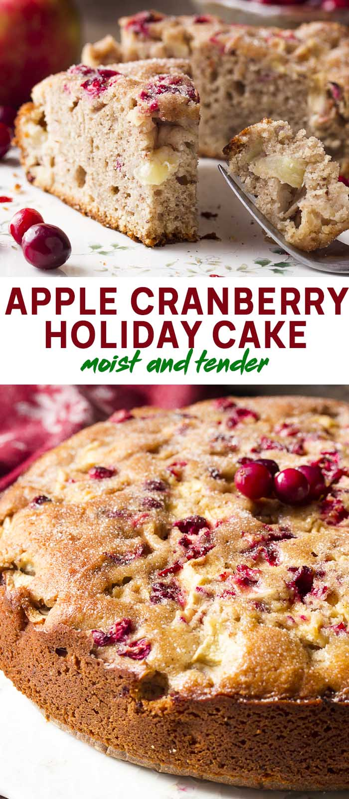 Whole cake and a slice with text overlay - Apple Cranberry Holiday Cake.