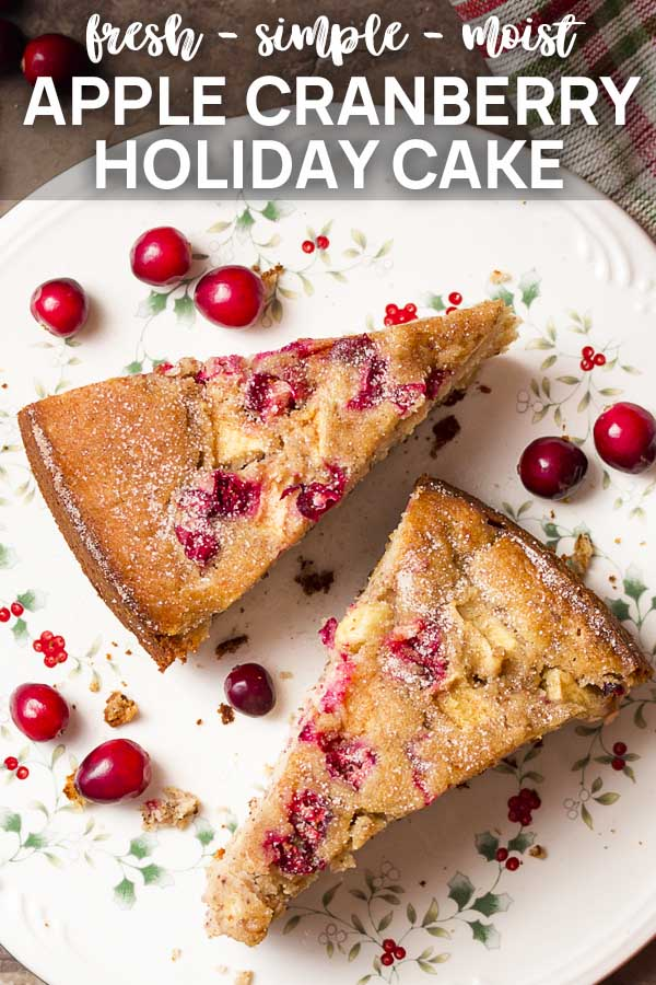 Two slices of cake on a plate with text overlay - Apple Cranberry Holiday Cake.