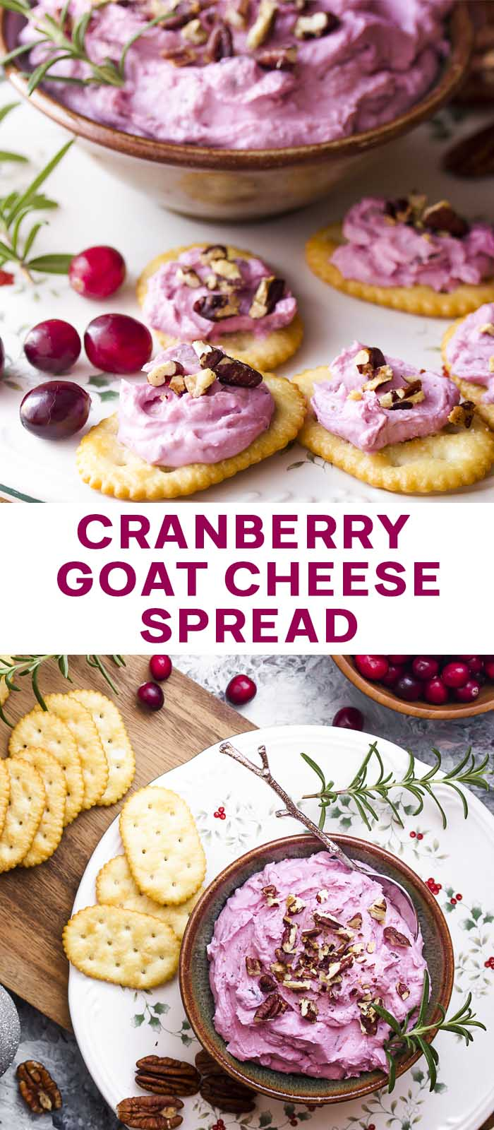 Recipe in a bowl and on crackers with text overlay - Cranberry Goat Cheese Spread.