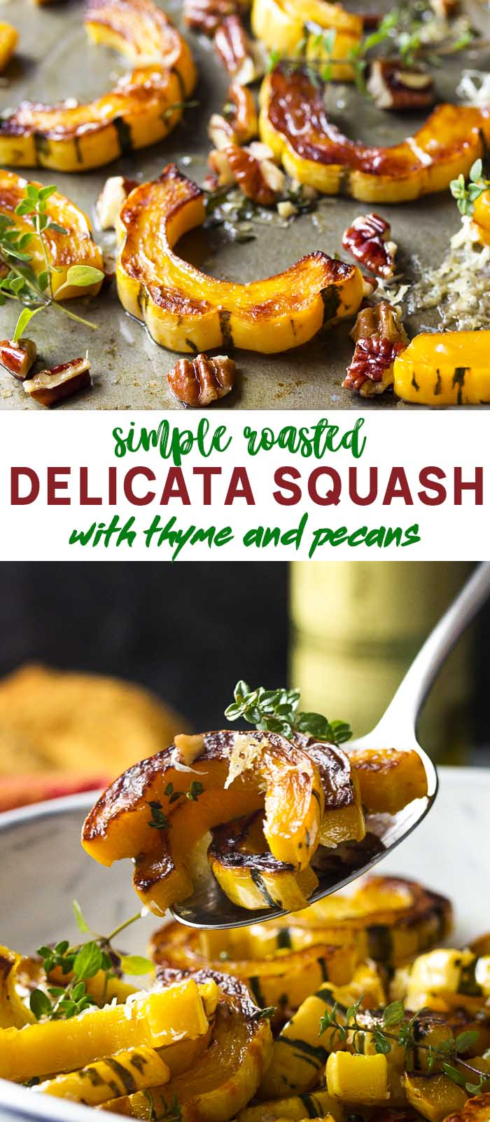 Roasted squash rings on a baking sheet and in a bowl with text overlay - Delicata Squash.