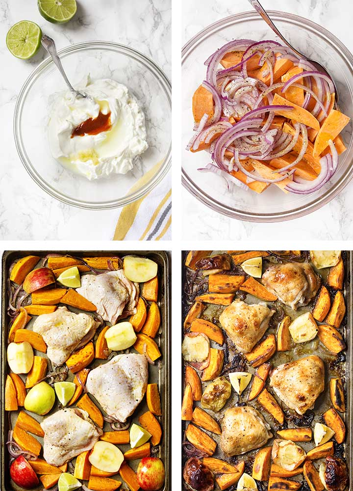 Step by step on how to make a sheet pan chicken thigh dinner.