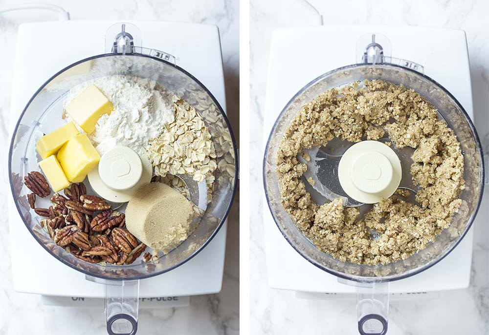 Step by step on making the crumble topping.