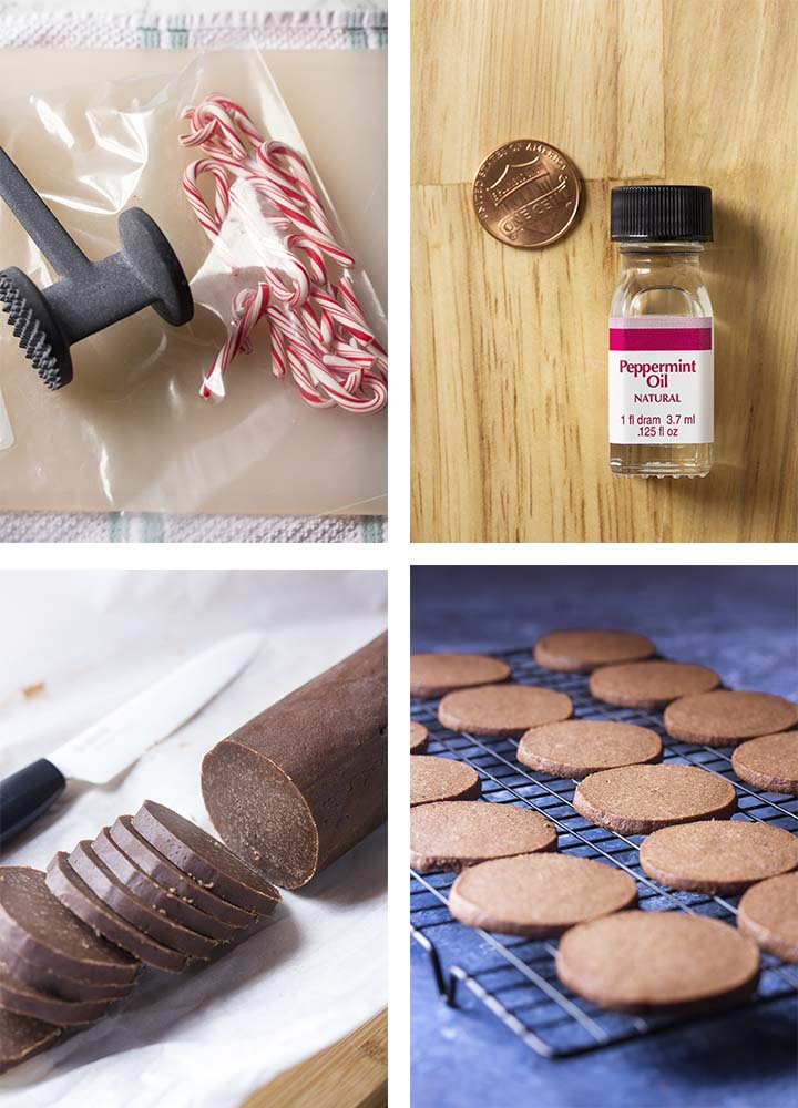 Step by step how to make chocolate peppermint cookies.
