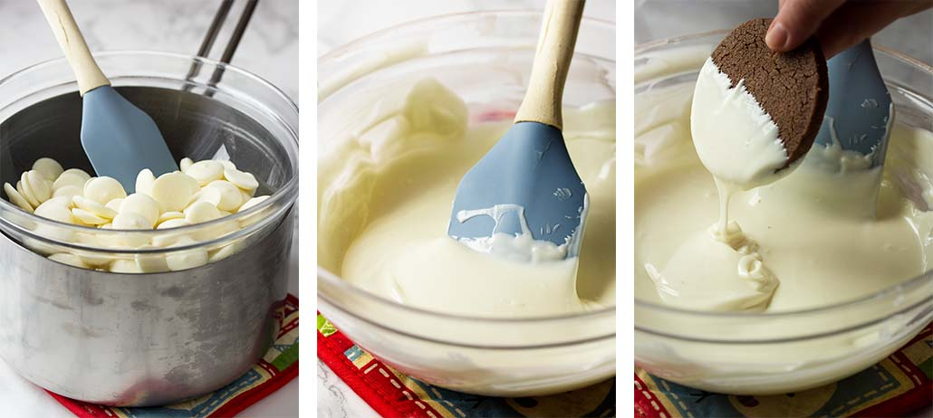 Step by step how to melt candy wafers and dip cookies.