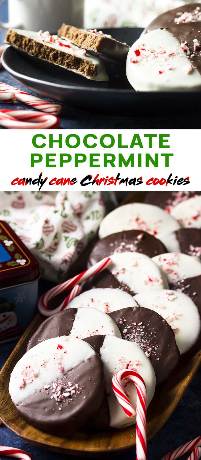 A tray and plate of cookies with text overlay - Chocolate Peppermint Christmas Cookies.
