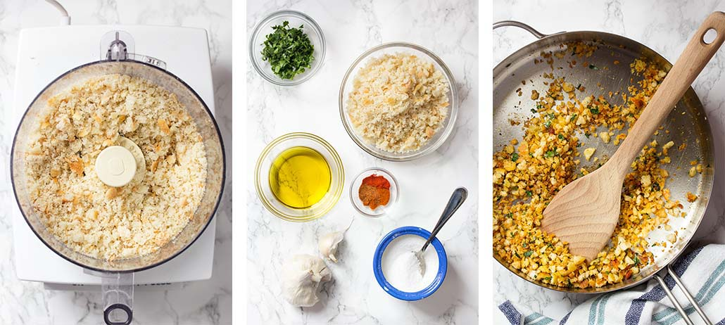 Step by step on how to make spiced bread crumbs.