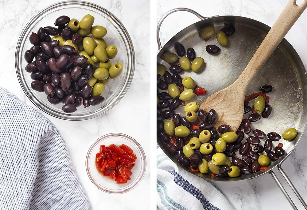 Step by step on how to make olive tapas.
