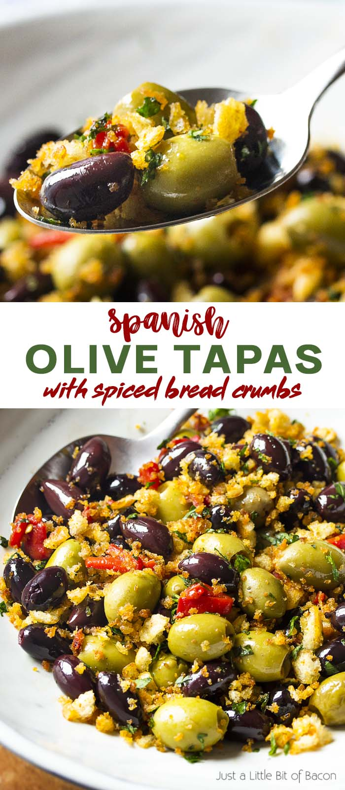 Recipe in a serving bowl and a spoon with text overlay - Spanish Olive Tapas.