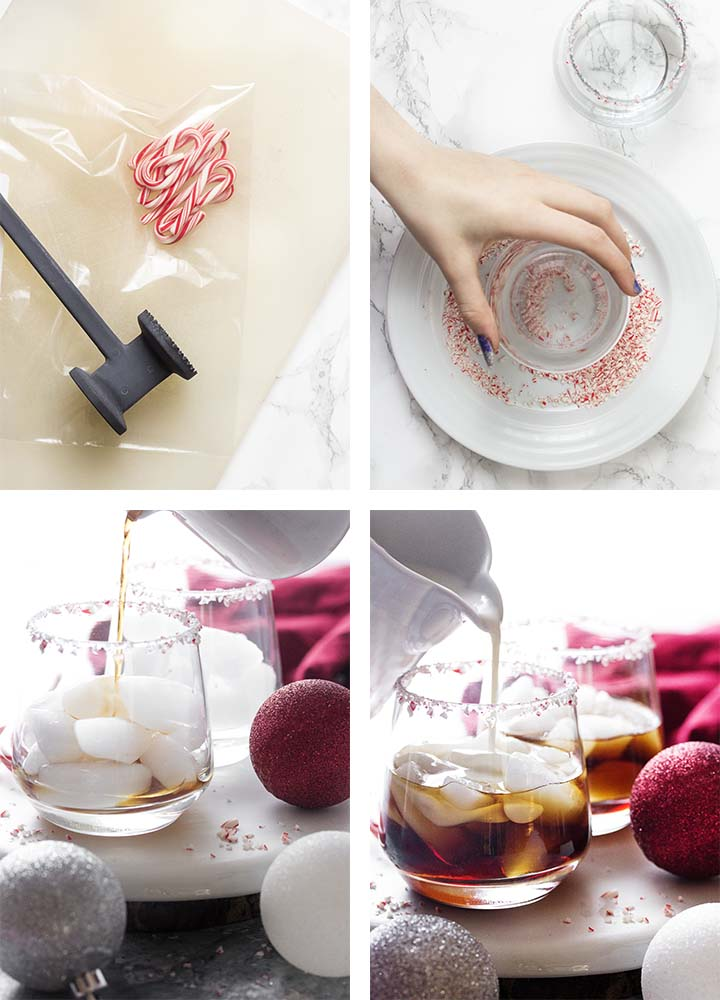 Step by step on how to make peppermint white Russians.