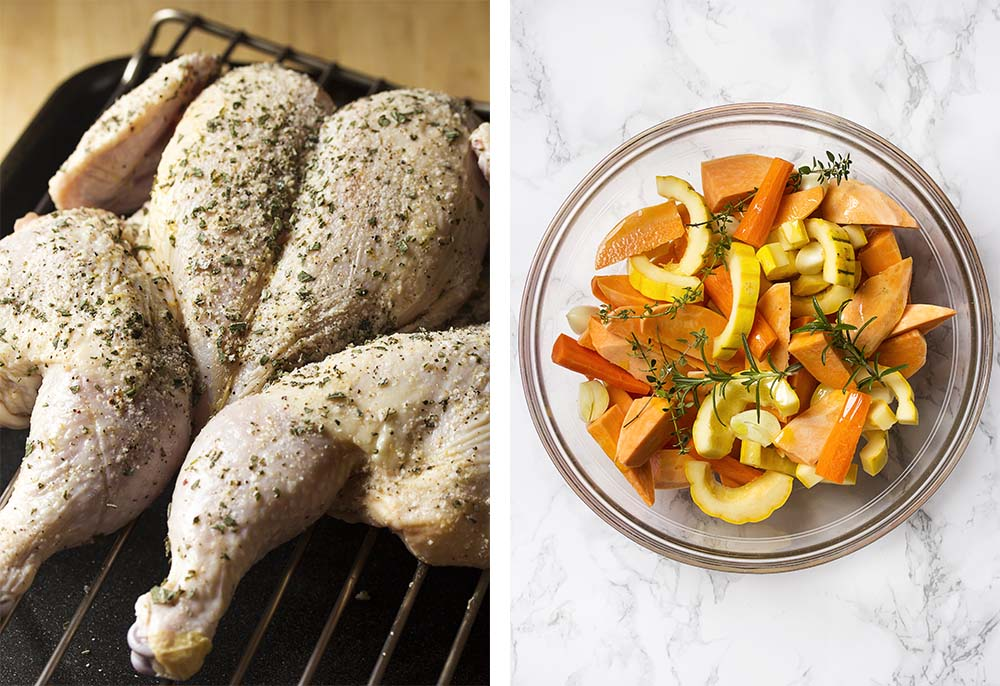 Sage rubbed spatchcocked chicken and chopped root vegetables.