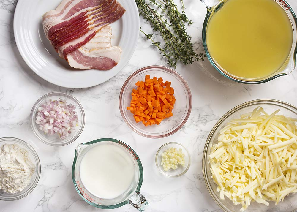 All the ingredients for the soup.