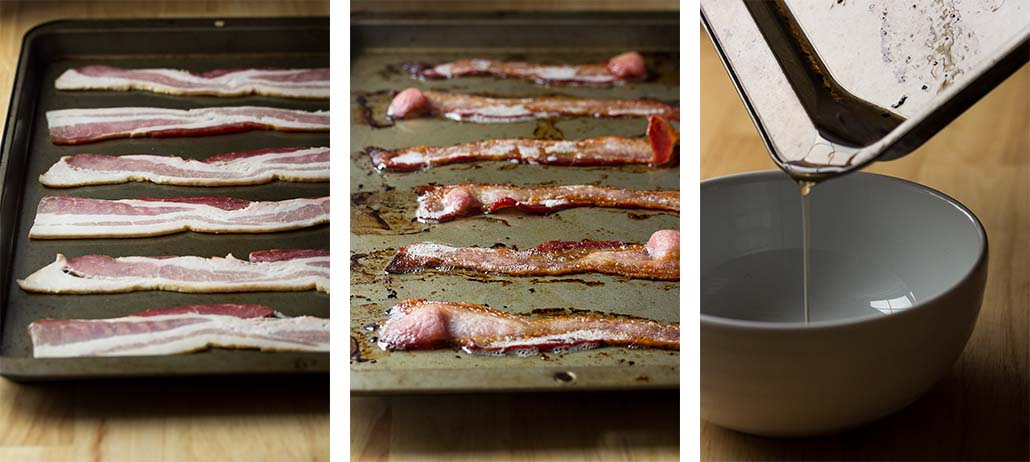 Step by step on cooking the bacon for the soup.
