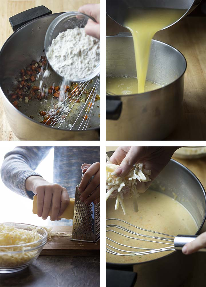 Step by step on how to make bacon cheddar soup.