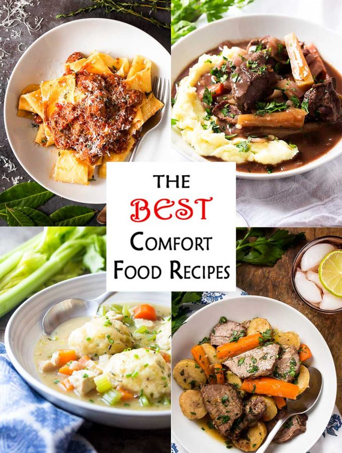 If you are looking for some cold weather dinner ideas featuring beef, chicken, or pork, you'll love this roundup of some of my best comfort food recipes! Whether you are cooking in a crockpot, instant pot, oven, or stove top, there is a delicious meal here for you. | justalittlebitofbacon.com #comfortfood #comfortfoodrecipes #winterrecipes #stew #beefrecipes #porkrecipes #chickenrecipes