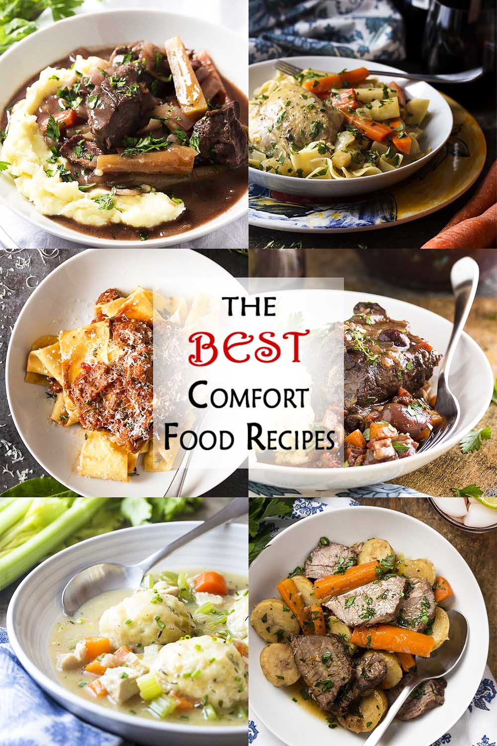 Long collage of dinner recipes with text overlay - The Best Comfort Food Recipes.